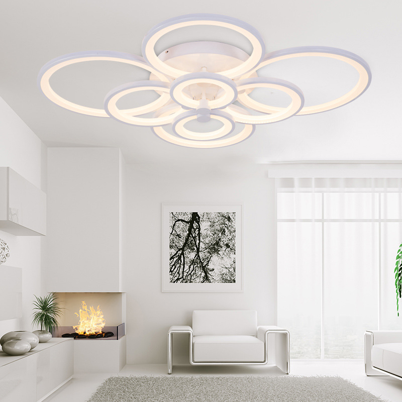 Moderne Plafondlamp Dimbare Ring Cirkels Lamp Opbouw Acryl Indoor Verlichting Armatuur Voor