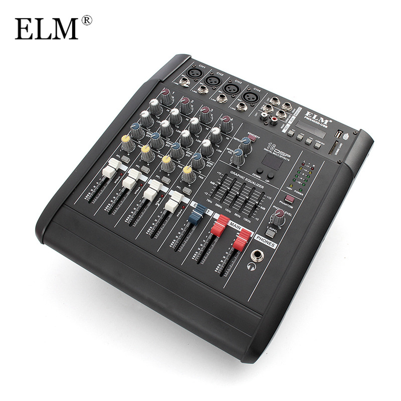 ELM Professional 4 Channel Karaoke Audio Mixer Microphone DJ Sound Mixing Amplifier Console With USB Switch 48V Phantom Power ...