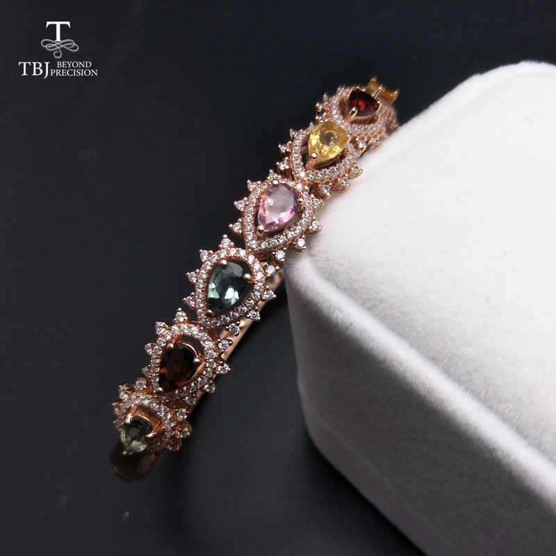 TBJ Bangle natural fancy color tourmaline 3 5ct gemstone 925 sterling silver fine jewelry for women