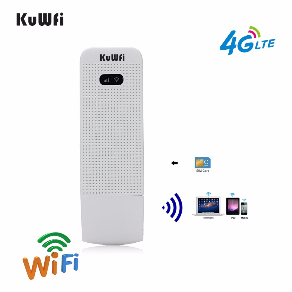 KuWfi Unlocked 4G Wifi Router USB Wireless WIFI Modem LTE Wireless USB Network Hotspot Dongle With SIM Card Slot ...