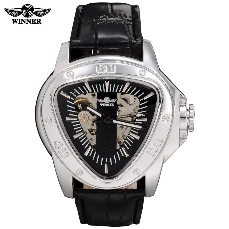 2016 Winner men triangle automatic self-wind mechanical watches mens sports fashion military skeleton watches leather band2016 Winner men triangle automatic self-wind mechanical watches mens sports fashion military skeleton watches leather band