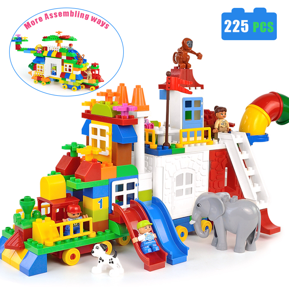 225PCS Colorful Big Building Blocks Train Bricks DIY Compatible with Legoe Duploe enlighten Toys For Children Kid Christmas Gift sluban pink dream sweet drink house educational toys for children building blocks plastic enlighten diy bricks legoe compatible