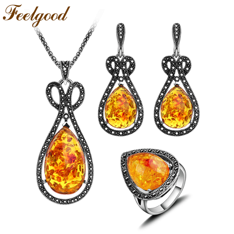Feelgood Antique Silver Color Ethnic Jewelry Sets Big Long Water Drop Pendant Necklace Earrings Ring Fashion Women Party Gift