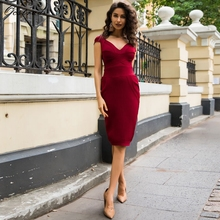 Ocstrade New Arrival Summer Sexy Women Bandage Dress 2018 High Quaity Party Deep-v Wine Red Ribbed Cupped Bodycon Bandage Dress