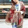 Шарф зимы длинные богемия платки женщин расцвет утолщаются шарфы кисточкой цветочный принт повелительниц шарфов теплый полиэстер WJ078