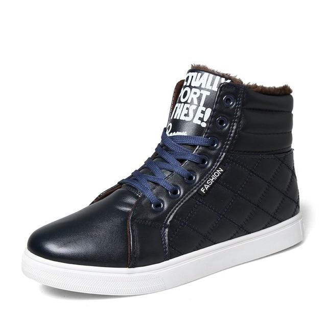 7a3316979 La moda de invierno zapatillas botines con cordones de cuero botas hombre  de nieve coreano mantener