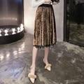 Negro Remiendo Del Cordón de la Falda de Terciopelo de Las Mujeres Saia Midi 2017 Nuevo resorte de Las Señoras Elegantes Larga Caliente Falda Plisada de Talle Alto Jupe Femme