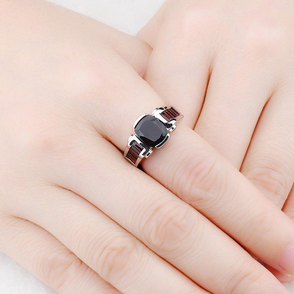 Hutang grenat anneaux de mariage bague en pierre naturelle solide 925 en argent Sterling lunette réglage bijoux de pierres précieuses fines pour les femmes filles nouveau - 2