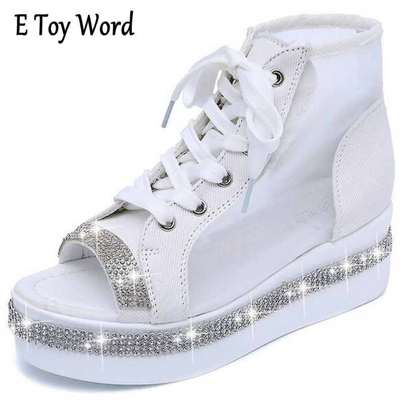 E TOY WORD Summer Gladiator Sandals Woman Open-Toe Breathable Net Yarn Glitters High Heels Casual Lace Wedges Women Shoes wedges gladiator sandals 2017 new summer platform slippers casual bling glitters shoes woman slip on creepers