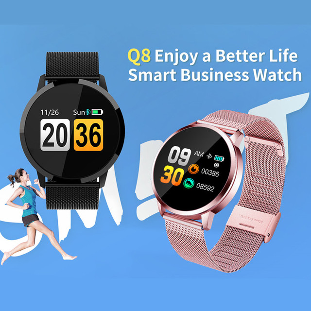 Smart Watch Q8 Fitness Tracker Heart Rate Monitor Blood Pressure Measurement Smart Watch for Ladies Support Android IOS  PK KW10