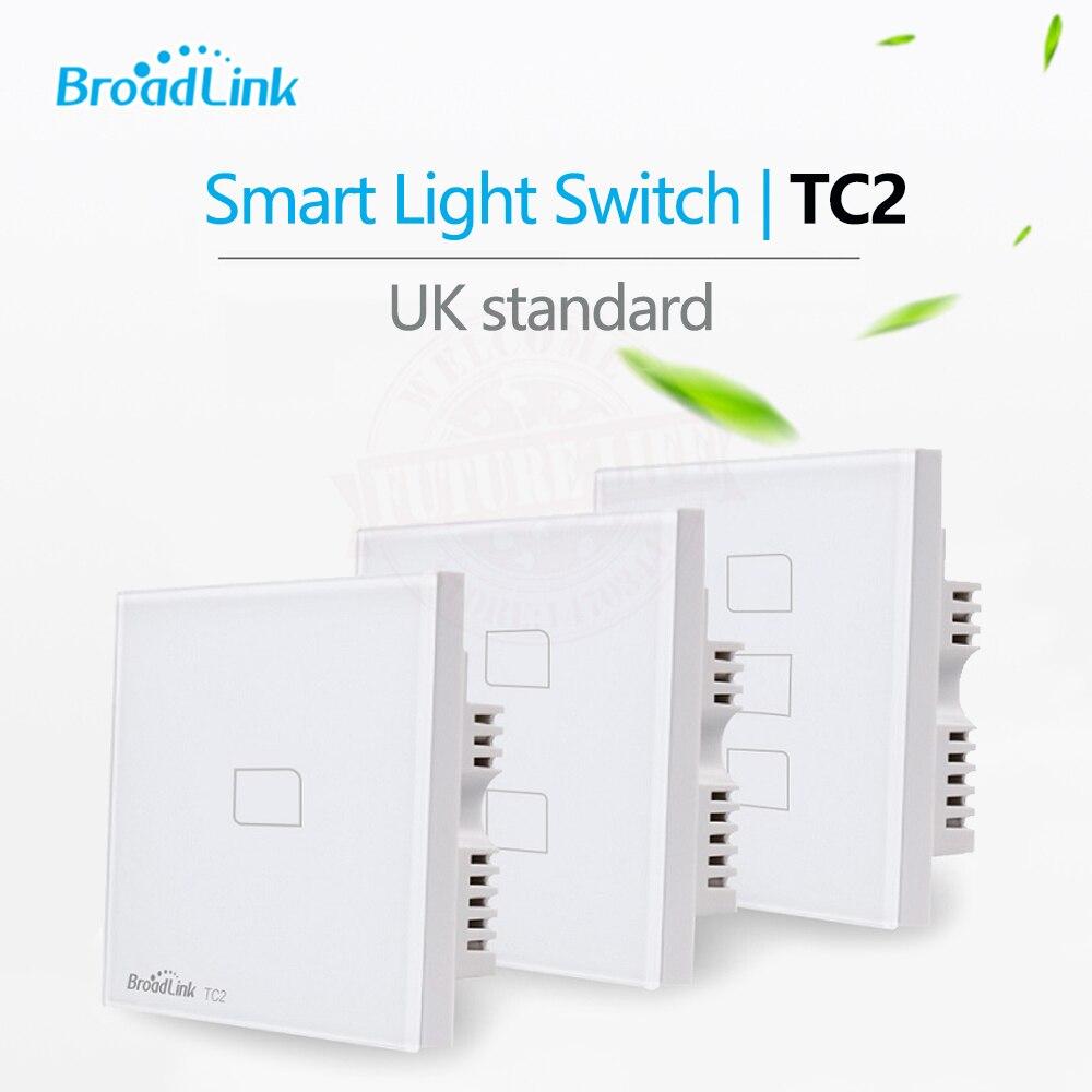 Broadlink TC2 1/2/3Gang UK Standard RF433 Wireless Wall Touch Switch Smart Home Automation Wifi Control Lamp Light Switch цена