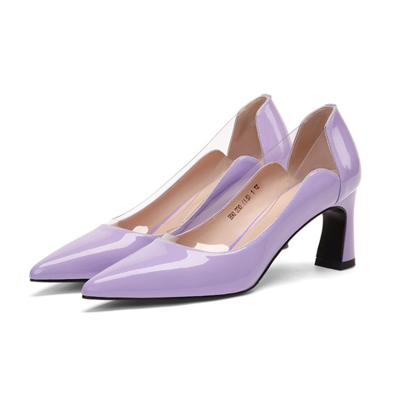 Cuir Talons lavande nu Caoutchouc Peu En Chaussures Noir Dames Noir Violet Msstor Pointu Femmes Profonde Transparent Classiques Sexy Bout Véritable OZTuwPkXil