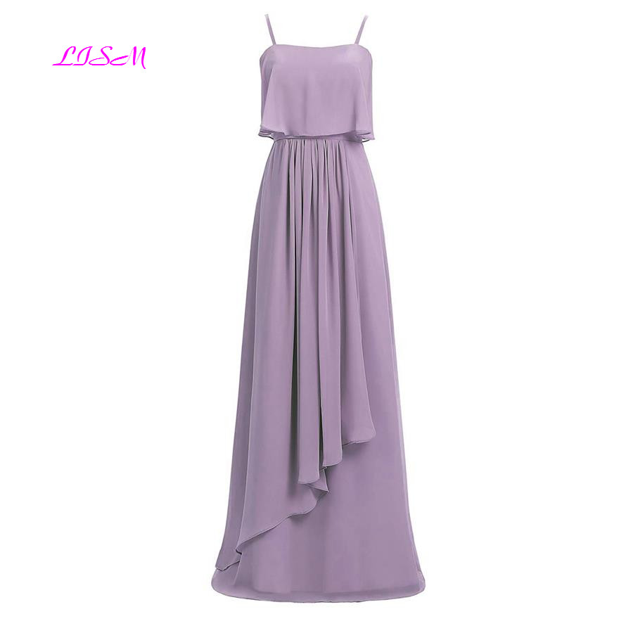 Spaghetti Straps Chiffon Long   Bridesmaid     Dresses   A Line Ruched Empire Prom   Dress   Simple Floor Length Formal Gowns Vestido Longo