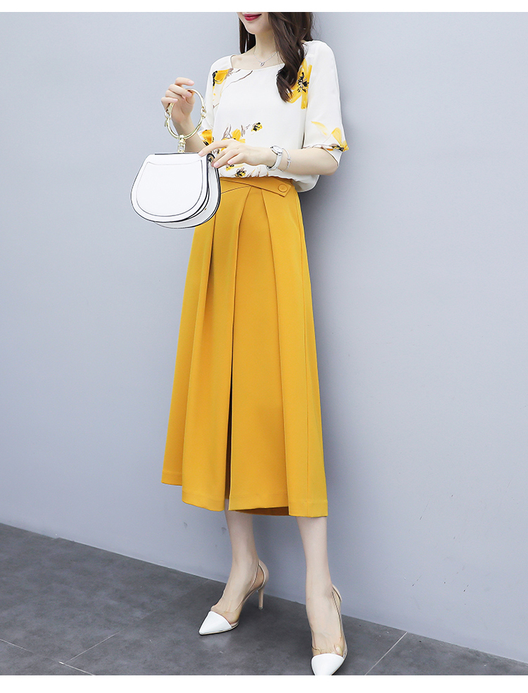 Yellow Summer Chiffon Two Piece Sets Outfits Women Plus Size Printed Blouses And Wide Leg Pants Suits Office Elegant 2 Piece Set 30