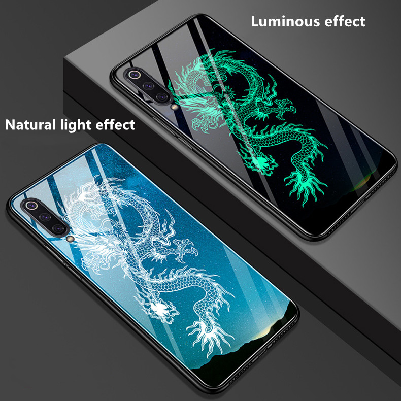 Luminous Tempered Glass Case For Xiaomi Mi 9 Soft Silicone Frame Back Cover For Xiaomi Mi9 Mi 9 SE 9T pro mi8 lite Phone Cases|Fitted Cases| |  - title=