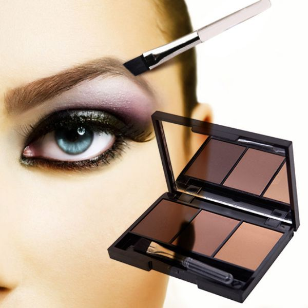 New Professional Kit 3 Color Eyebrow Powder Shadow Palette Enhancer with Ended Brushes