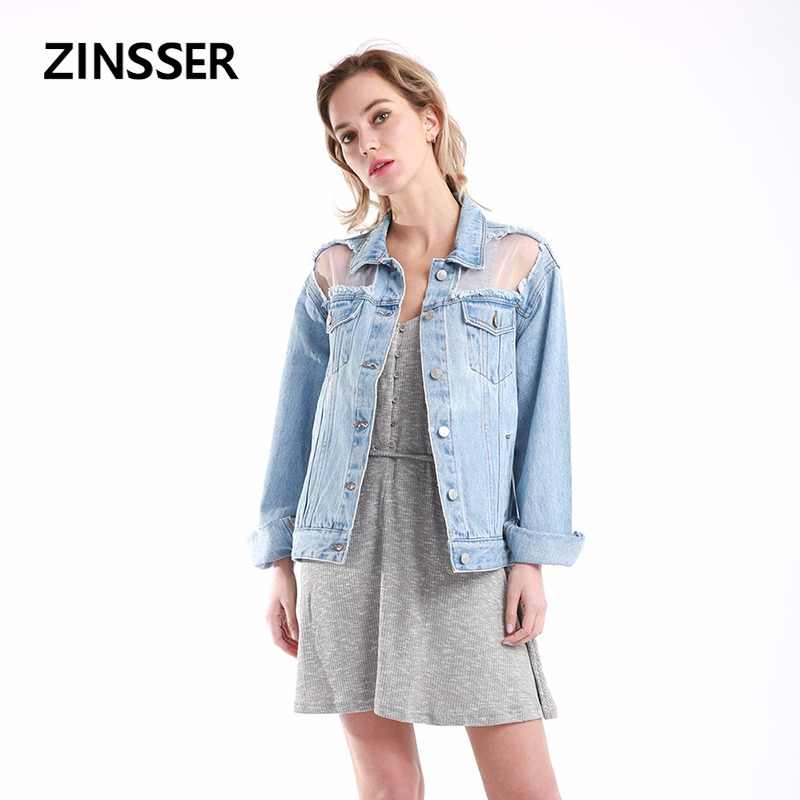Women Denim Fancy Jacket Regular Loose Casual With Organza Long Sleeve 100% Cotton Washed Blue Female Lady Coat