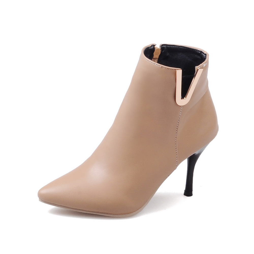 Brand New  Autumn Sexy Black White Apricot Women Ankle Boots Pumps Ladies Dress Shoes  High Heels EMB01 Plus Big size 32 45 brand new fashion black yellow women knee high cowboy motorcycle boots ladies shoes high heels a 16 zip plus big size 32 43 10