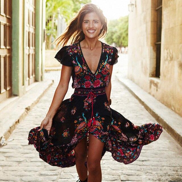 Колокольчик Лето Boho Dress Etehnic Сексуальная Печати Ретро Старинные Dress Кисточкой Пляж Dress Hippie Bohemain Dress Халат Vstidos Mujer