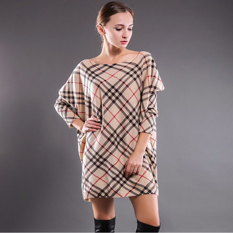 New High Quality Womens Baggy Grid stripe Print Knit Pullover Onesize Jumper Casual Sweater Knitted Autumn Oversized Sweater