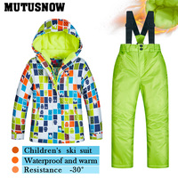 2018 Latest Children's Ski Suit Winter Children Windproof Waterproof Super Warm Colorful Girl And Boy Snow Ski Jacket And Pants