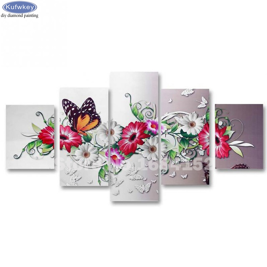 diy 5pcs/set mosaic full 3d diamond embroidery beautiful butterfly 5d diamond painting cross stitch square drill multi pictures
