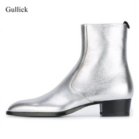 2018 Spring Autumn Gold Leather Ankle Boots Side Zipper Chunky Heels Dress Shoes For Mens High Quality Flat Ridding Boots