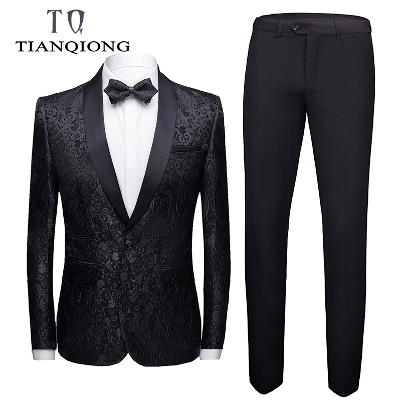 Burgundy Wedding Suit Men 2019 Fashion Slim Fit Men Floral Suits Latest Coat Pant Designs 4XL Christmas Prom Jacquard Suit