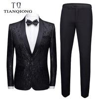 Burgundy Wedding Suit Men 2019 Fashion Slim Fit Men Floral Suits Latest Coat Pant Designs 4XL Christmas Prom Jacquard Suit