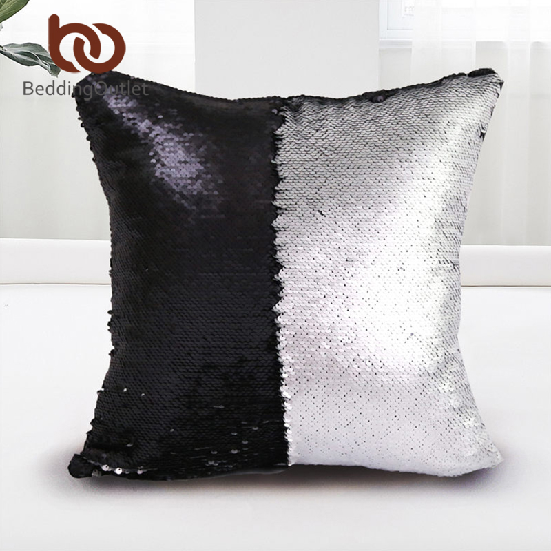 BeddingOutlet Mermaid Sequin Cushion Cover Magical Shining Pillow Case Patchwork Decorative Pillowcase Stylish Sofa Car 40X40cm ...