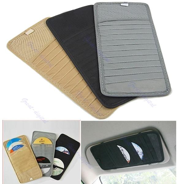 1Pc Car Sun Visor Sun Shade CD DVD Holder Case Disk Card Storage Bag Clipper New