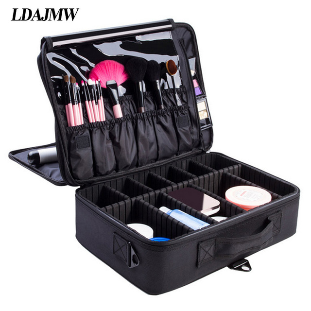 Ldajmw Portable Cosmetic Storage Box Travel Professional Makeup Bags Tool Bo Artist Manicure Beauty Clapboard