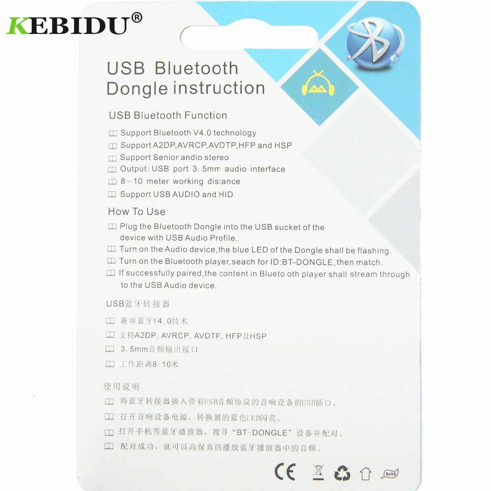 KEBIDU Wireless Bluetooth 4 0 Adapter USB Bluetooth Receiver 3 5mm Audio  Jack Dongle A2DP 5V For Car Speaker AUX Android/IOS