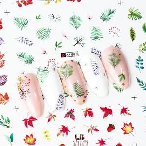 Image 3 - Ensemble de décalcomanies pour ongles, feuilles vertes, transferts à leau, 12 pièces, autocollants de manucure, tatouage, Nail Art, modèles TRA1549 1560