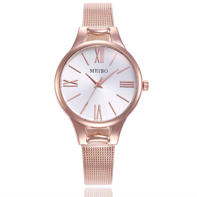 Top Brand Bracelet Watches Women Luxury Rose Gold Stainless Steel Wrist Watches