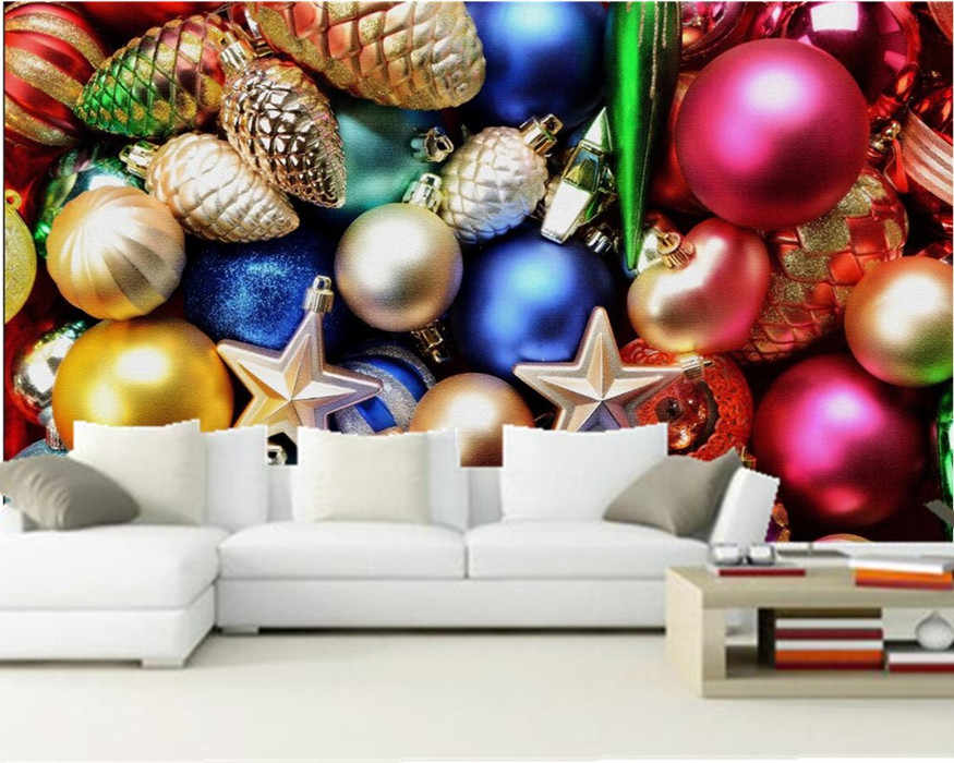 ที่กำหนดเอง3Dภาพจิตรกรรมฝาผนังขนาดใหญ่,วันหยุดคริสมาสต์หลายลูกวอลล์เปเปอร์กระดาษde parede,ร้านกาแฟที่อาศัยอยู่roomTVผนังห้องนอนวอลล์เปเปอร์