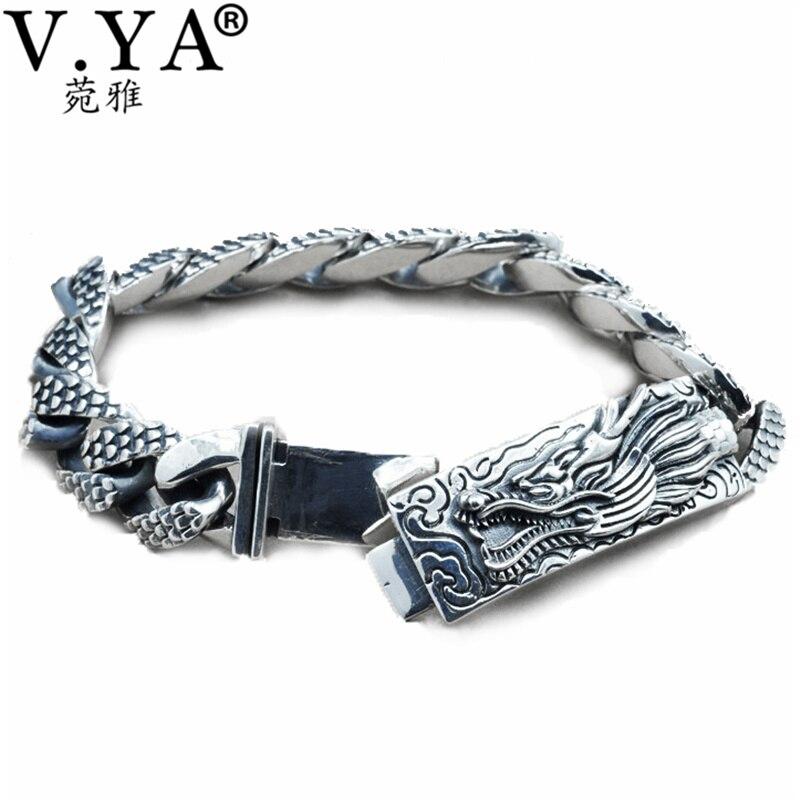 fd1692b98f5c 100% real pura plata 925 al por mayor de la joyería de los hombres  auténticos hombres pulsera de la cabeza del Dragón envío gratis joyería  fina HYB14