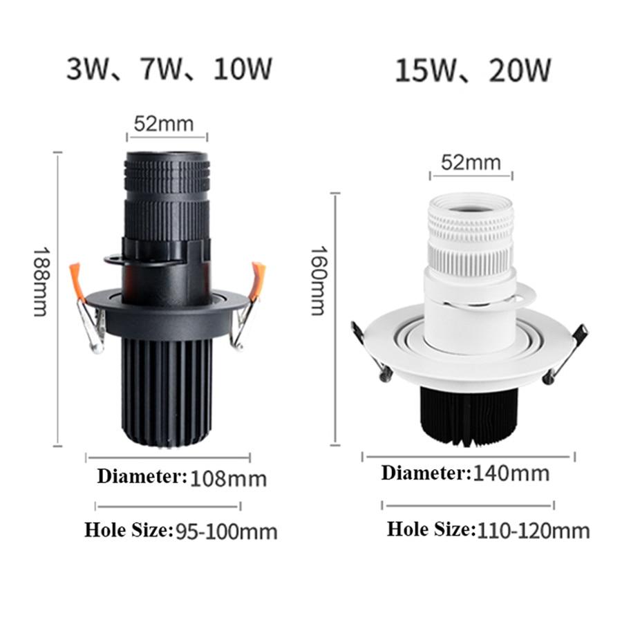 Thrisdar Zoom LED Spotlight Adjustable Focus Recessed Downlight Ceiling Light Hotel Corridor Museum in Spotlights from Lights Lighting
