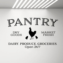 Pantry Dry Goods Market Fresh Wall Stickers Kitchen Decor Glass Door Decal Sign Chicken Rooster Home Decorations Mural G566