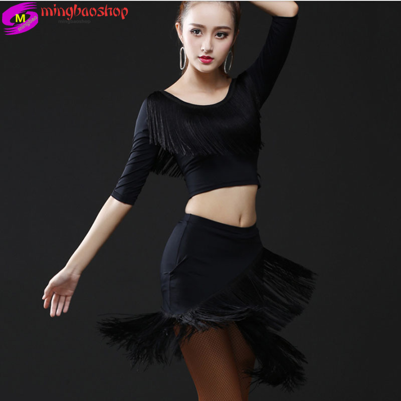 2019 New Latin Dance Skirt Sexy Woman Ballroom Tango Rumba Cha Cha Tassel Dance Skirt Latin Fringed Skirts Latin Dress Women