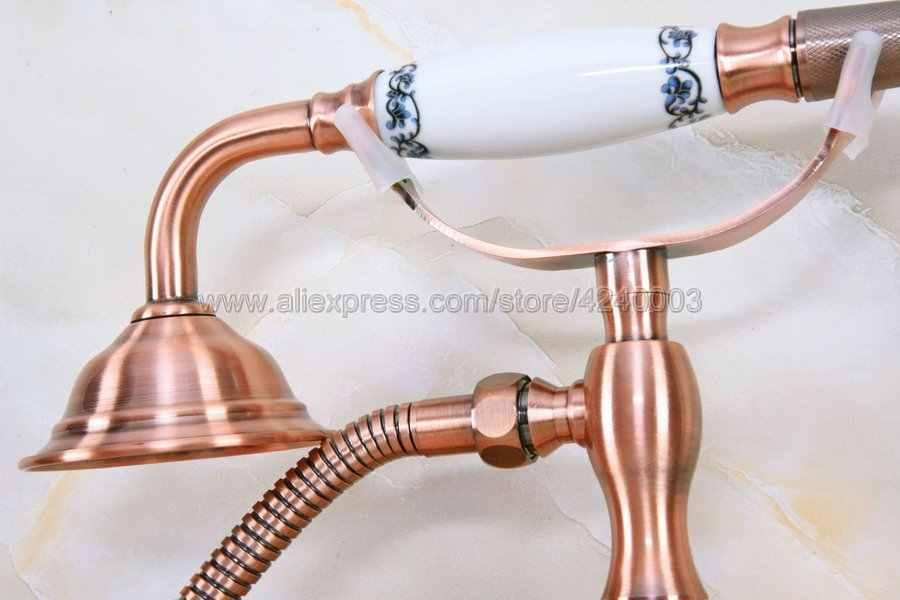 アンティーク赤い銅浴室浴槽の蛇口電話スタイル浴室浴槽が搭載されたhandshower交接する浴槽スパウトKna329