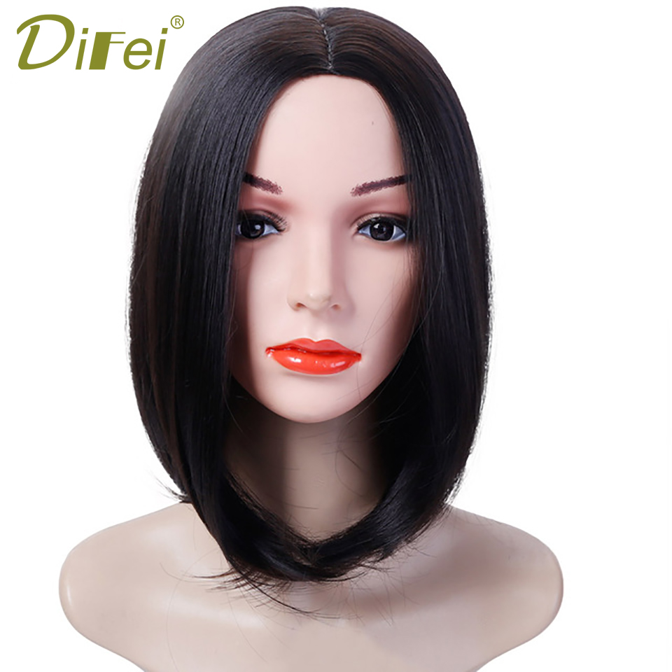 DIFEI HAIR Short Bob Wigs For Women Short Straight Cosplay Natural Synthetic Heat Resistant Wig