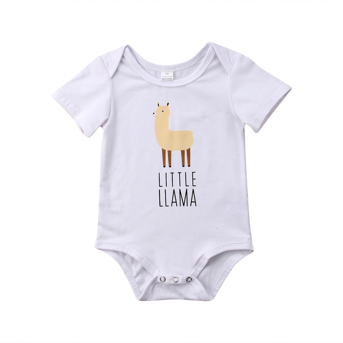 Newborn Kids Baby Boy Girl Llama Bodysuit Playsuit Summer Cartoon Clothes Outfits