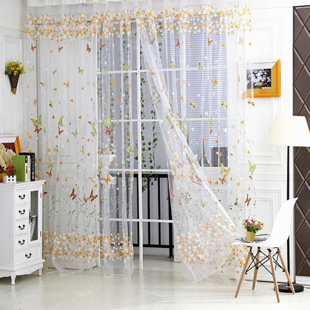 Window Curtain Door Butterfly Tulle Voile Room Balcony Sheer Panel Curtains 1M*2.7M AA