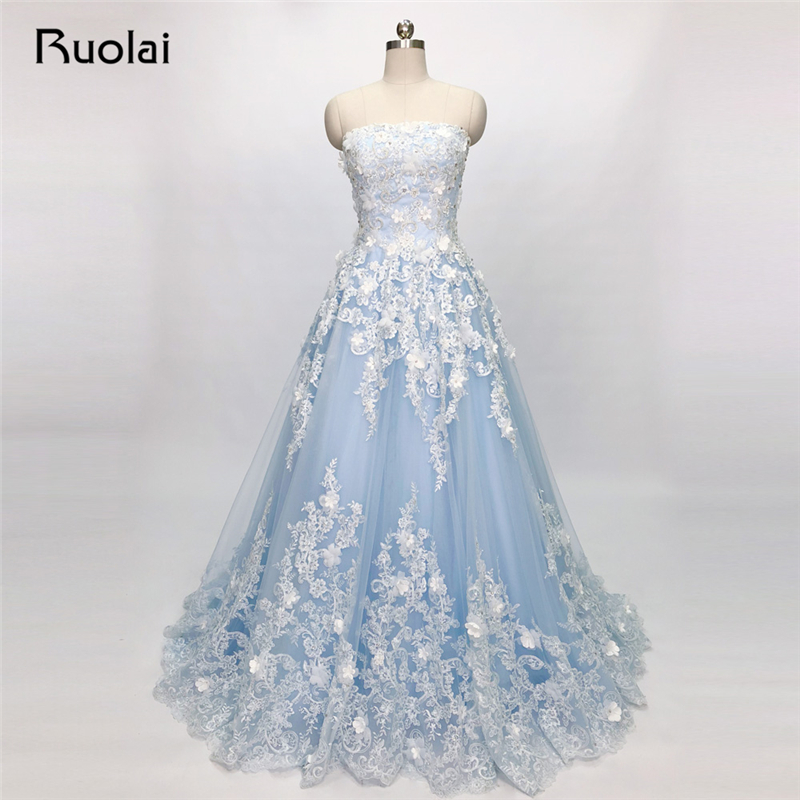 Blue   Evening     Dresses   Long Strapless Crystal Beaded   Evening   Gown Tulle Formal   Evening   Prom   Dress   2019 Vestido de Fiesta SN40