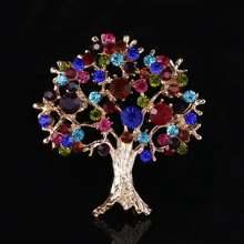 Разноцветная брошь с кристаллами на рождественскую елку Мужская