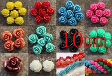 OMH wholesale 10mm 20pcs Gorgeous Rose Flower Coral Spacer beads Red Blue White U Choose Color