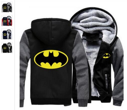 2018 Fashion Men Women Batman Zipper Jacket Sweatshirts Thicken Hoodie Coat Clothin hot free shipp