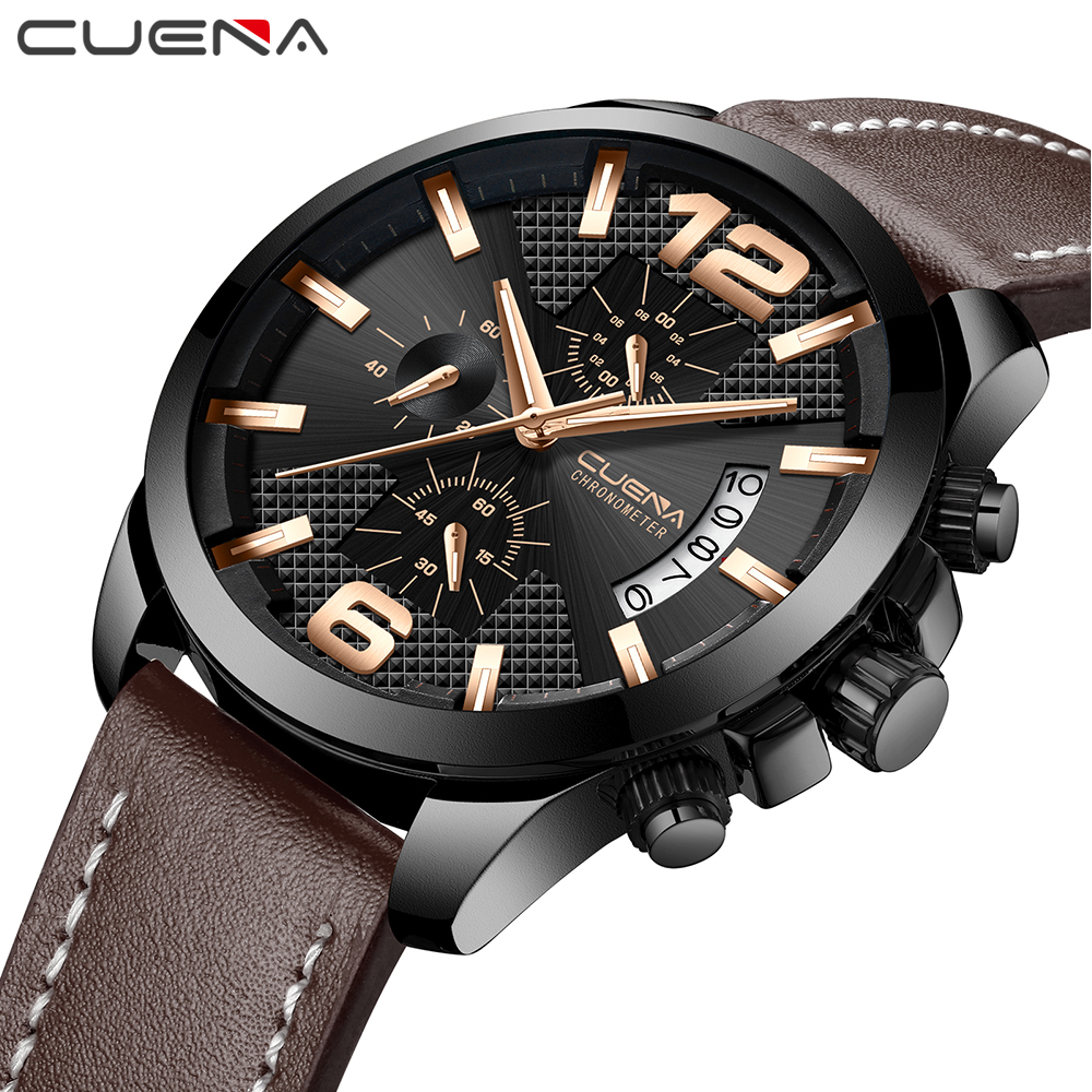 CUENA Men's Watches Top Brand Man Watches Stopwatch Luminous Hands Leather Strap 30M Waterproof Fashion Quartz Wristwatches 2018 купить недорого в Москве