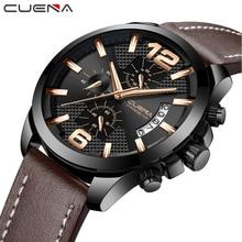 CUENA Men's Watches Top Brand Man Watches Stopwatch Luminous Hands Leather Strap 30M Waterproof Fashion Quartz Wristwatches 2018 все цены